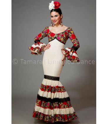 woman flamenco dresses 2016 - Aires de Feria - Soleares white & black with flowers