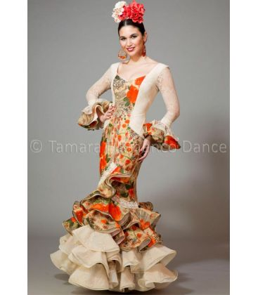 woman flamenco dresses 2016 - Aires de Feria - Rosa lace printed orange flowers