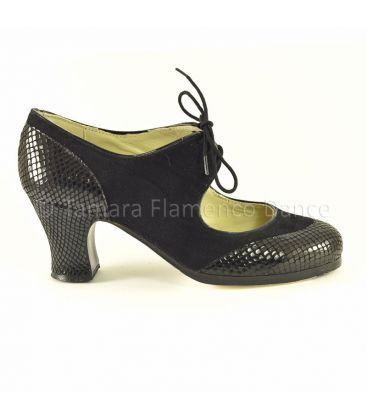flamenco shoes professional for woman - Begoña Cervera - Cordoneria suede and snake black