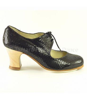 flamenco shoes professional for woman - Begoña Cervera - Cordonera black snake leather