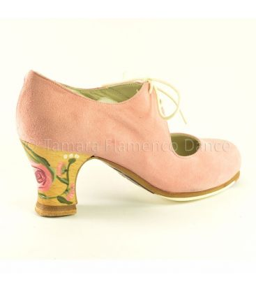 flamenco shoes professional for woman - Begoña Cervera - Cordonera rose suede casilda heel