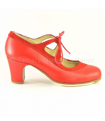 in stock flamenco shoes professionals - Begoña Cervera - Candor red suede and leather with 6cm classic heel