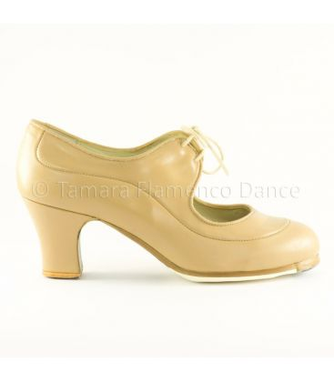 flamenco shoes professional for woman - Begoña Cervera - Angelito beige leather
