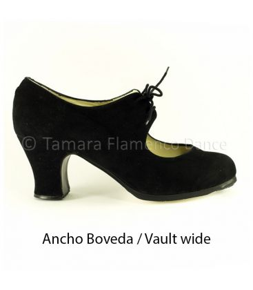 flamenco shoes professional for woman - Begoña Cervera - Cordonera black suede carrete heel vault wide