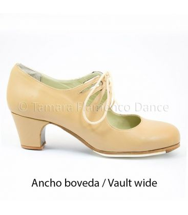 in stock flamenco shoes professionals - Begoña Cervera - Cordonera Calado camel leather 5 cm classic heel with vault wide