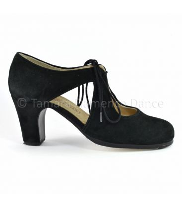 in stock flamenco shoes professionals - Begoña Cervera - Escote black suede high heel