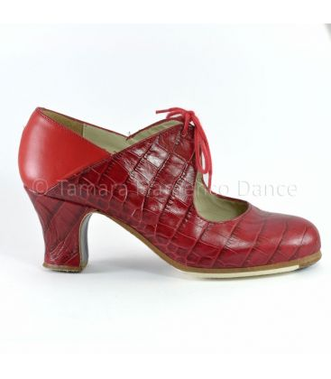 flamenco shoes professional for woman - Begoña Cervera - Arty red cocodrile lather carrete heel