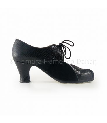 in stock flamenco shoes professionals - Begoña Cervera - Acuarela Cordones black suede snake leather