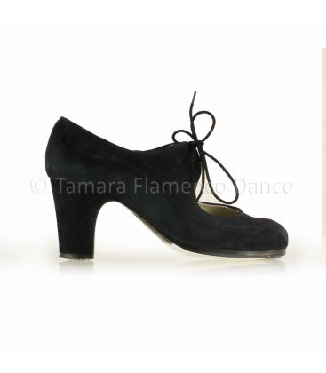 in stock flamenco shoes professionals - Begoña Cervera - Angelito black suede 7cm heel