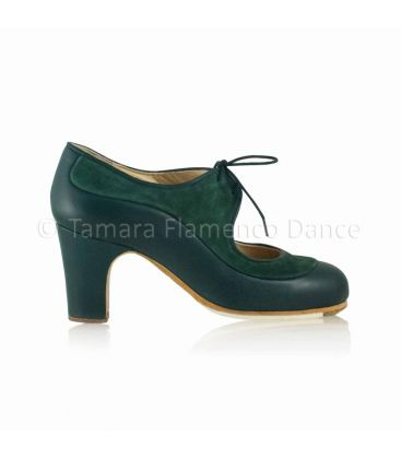 in stock flamenco shoes professionals - Begoña Cervera - Angelito suede and leather dark green 7 cm heel