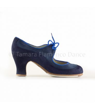 in stock flamenco shoes professionals - Begoña Cervera - Angelito dark blue suede carrete heel