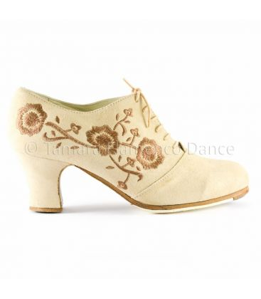 flamenco shoes professional for woman - Begoña Cervera - Ingles Bordado (embroidered) beig with brown