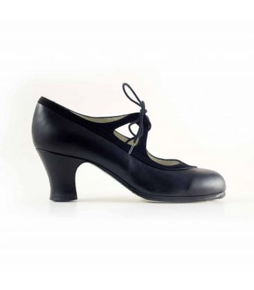 in stock flamenco shoes professionals - Begoña Cervera - Candor black leather black suede carrete heel