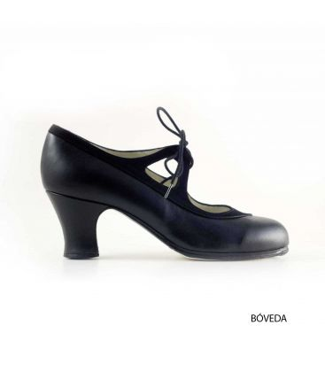 in stock flamenco shoes professionals - Begoña Cervera - Candor black leather and suede wider