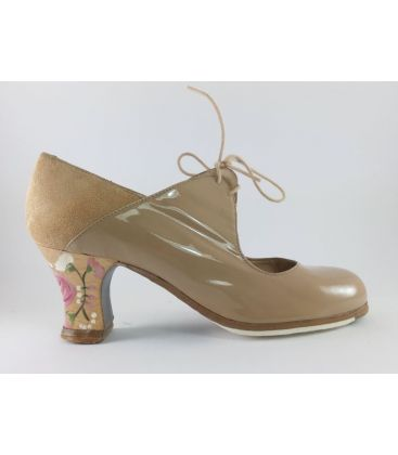 in stock flamenco shoes professionals - Begoña Cervera - Arty patent leather camel carrete heel