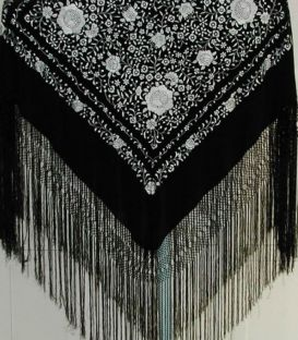 Manila Shawls Floral - Black with white