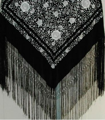 manila shawls - - Manila Shawls Floral Black with white
