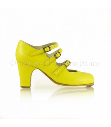 flamenco shoes professional for woman - Begoña Cervera - 3 Correas yellow leather