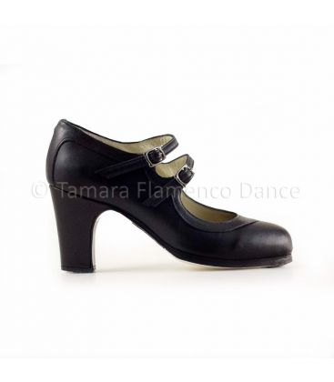 flamenco shoes professional for woman - Begoña Cervera - 2 Correas black leather