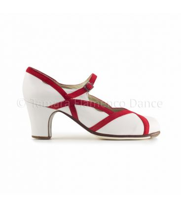 flamenco shoes professional for woman - Begoña Cervera - Arco II leather white with red