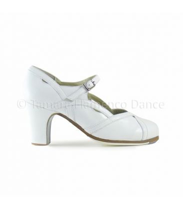 flamenco shoes professional for woman - Begoña Cervera - Arco II leather white