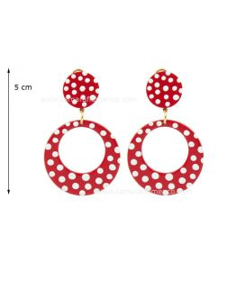"Earrings ""argollas"" small acetate with polka dots"
