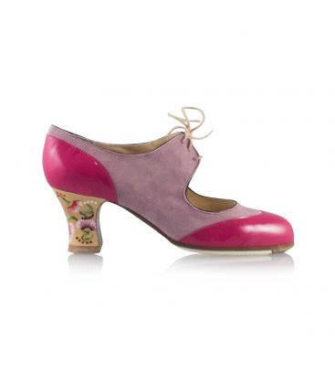 flamenco shoes professional for woman - Begoña Cervera - Cordoneria fuxia leather and suede carrete heel