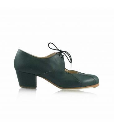 flamenco shoes professional for woman - Begoña Cervera - Acuarela Cordones green leather heel cubano