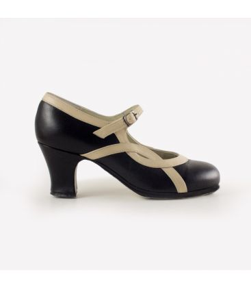 flamenco shoes professional for woman - Begoña Cervera - Arco I black and beige leather carrete heel