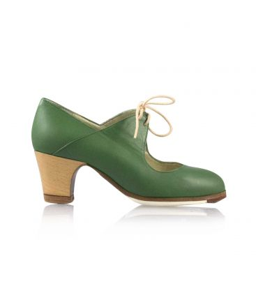flamenco shoes professional for woman - Begoña Cervera - Arty green leather classic heel