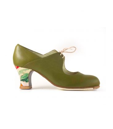 flamenco shoes professional for woman - Begoña Cervera - Arty green leather carrete heel hand painted