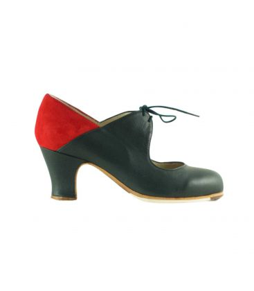 flamenco shoes professional for woman - Begoña Cervera - Arty green leather and red suede, carrete heel
