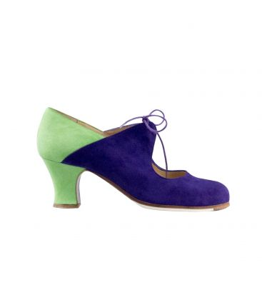 flamenco shoes professional for woman - Begoña Cervera - Arty green and purple suede, carrete heel