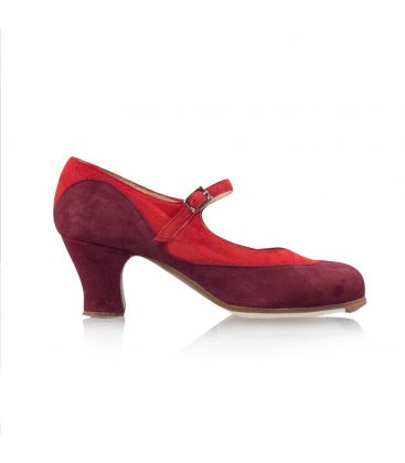 flamenco shoes professional for woman - Begoña Cervera - Binome red and bordeaux suede, carrete heel