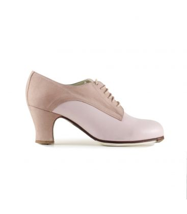 flamenco shoes professional for woman - Begoña Cervera - Butchler pink leather and suede carrete heel