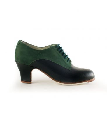 flamenco shoes professional for woman - Begoña Cervera - Butchler green leather and suede carrete heel