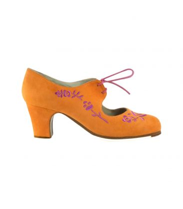 flamenco shoes professional for woman - Begoña Cervera - Bordado Cordonera orange and pink suede, classic heel