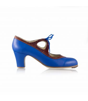 flamenco shoes professional for woman - Begoña Cervera - Candor blue leather and brown crocodile leather classic heel