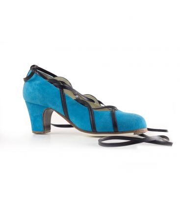 flamenco shoes professional for woman - Begoña Cervera - Cintas black and blue suede classic heel