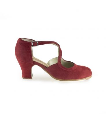 flamenco shoes professional for woman - Begoña Cervera - Clasico Español III burdeaux suede carrete heel