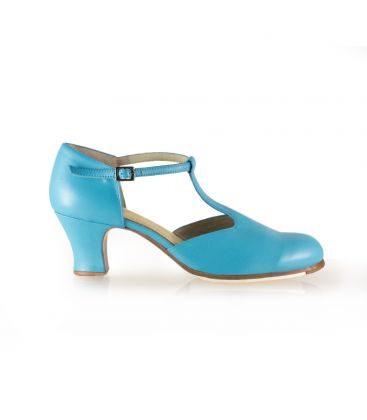 flamenco shoes professional for woman - Begoña Cervera - Clásico Español I turquoise leather and carrete heel