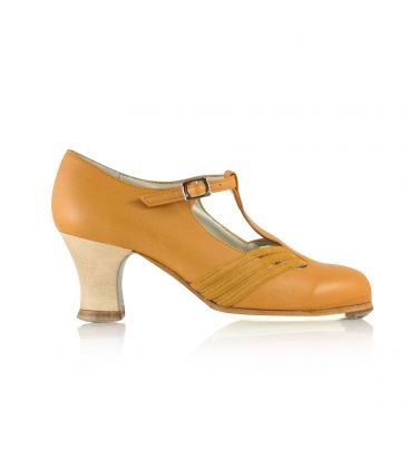 flamenco shoes professional for woman - Begoña Cervera - Class amber leather and suede, carrete visto heel