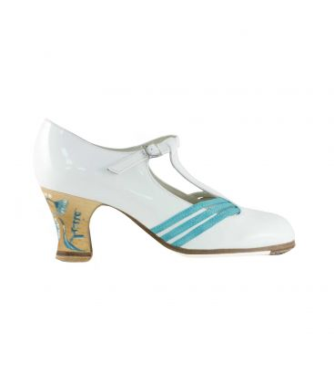 flamenco shoes professional for woman - Begoña Cervera - Class white patent leather and turquoise suede, carrete heel hand painted