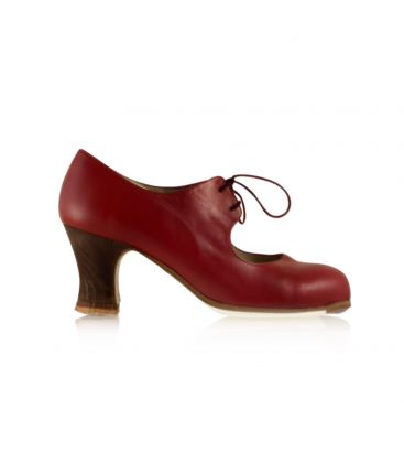 flamenco shoes professional for woman - Begoña Cervera - Cordonera dark red leather carrete wood heel