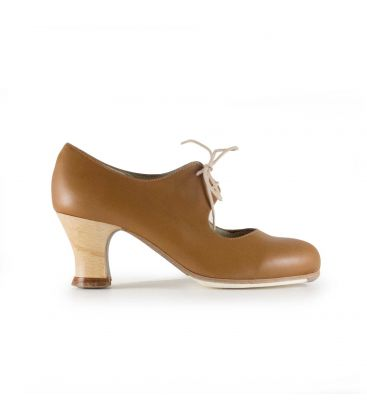 flamenco shoes professional for woman - Begoña Cervera - Cordonera brown leather carrete heel
