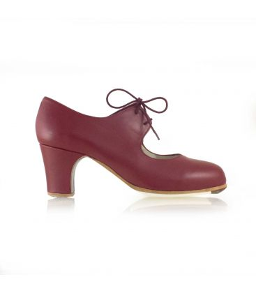 flamenco shoes professional for woman - Begoña Cervera - Cordonera burgundy valdemar leather classic heel