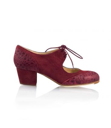 flamenco shoes professional for woman - Begoña Cervera - Cordoneria suede and crocodrile leather burgundy