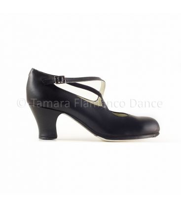 flamenco shoes professional for woman - Begoña Cervera - Cruzado black leather carrete heel