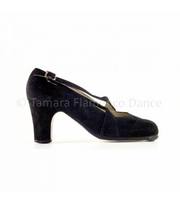 flamenco shoes professional for woman - Begoña Cervera - Cruzado II black suede classic heel