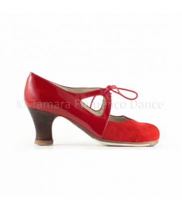 flamenco shoes professional for woman - Begoña Cervera - Dulce red suede and patent leather carrete wood heel